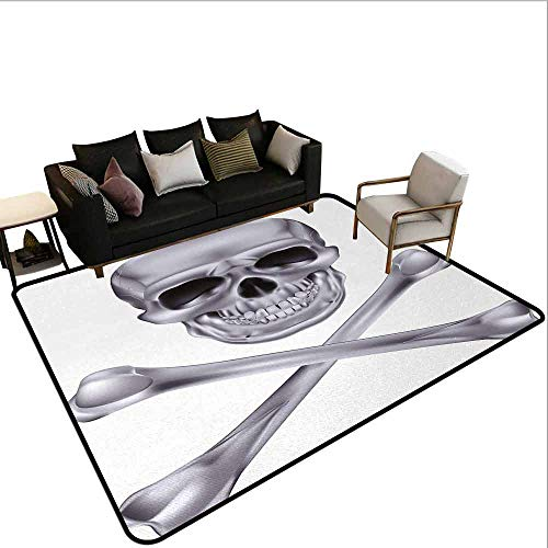 AlEASYHOME Custom Rugs with Logo&Pictures, Vivid Skull and Crossbones Dangerous Scary Dead Skeleton Evil Face Halloween Theme, 3.9′x5.9′ for Bedroom Living Room, Dimgray -