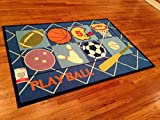 Sports Kids Area Rug -4'x6' ACTUAL RUG SIZE IS 3'.11''X5'.5'' Nice Size - Printed Area Rug with Non Skid Backing 47 INCH X 65 INCH