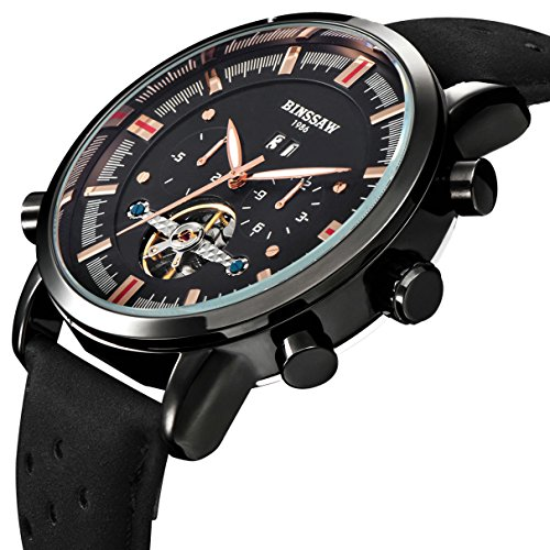 BINSSAW Men Automatic Mechanical Tourbillon Watch Brand Leather Gold Fashion Casual Stainless Steel Sports Wrist Watches for Male by BINSSAW