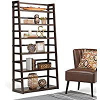 Wyndenhall Normandy Tobacco Brown Wide Ladder Shelf Bookcase | 72 in. H x 16 in. W x 36 in. L