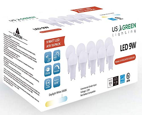 (10 Pack) LED GU24 Twist-in Base A19 Light Bulb, 9W (60W Equivalent), Energy Star, Dimmable, Bi-pin, 5000K (Daylight White), 800 Lumens, UL Listed. ()