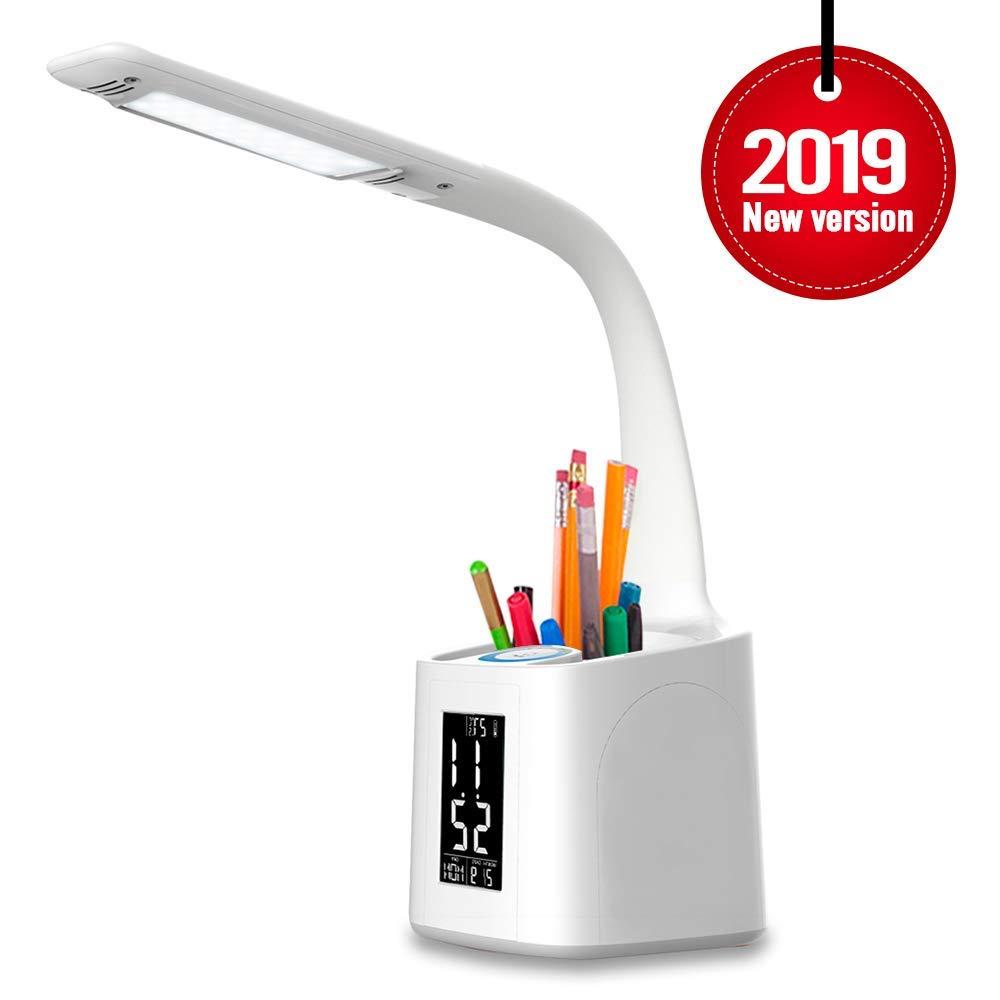Dimmbar Touch Control Wei/ß Augenschutz Stifthalter Tischleuchte Schreibtischlampe LED wanjiaone Tageslichtlampe mit USB Ladeanschluss Student Leselicht,Stift-Halter Schreibtischlampe Kinder