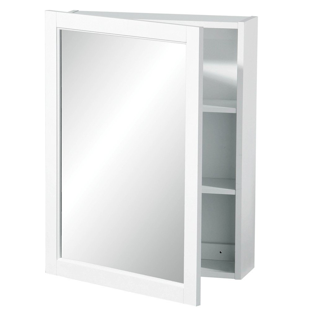 Premier Housewares 2 Tier Mirrored Wall Cabinet With Shelves In White Wood FREE DELIVERY