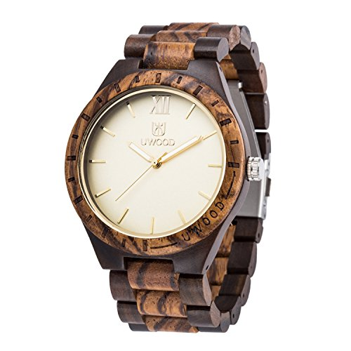 Wooden Watches,BIOSTON Natural Handmade Ebony Zebra Mixed Wood Wrist Watch,Gold Design Wood Grain - Gold Ebony