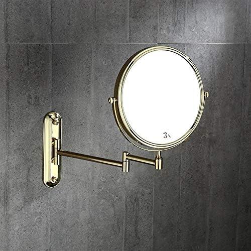 浴室の壁のマウントのミラー、1X / 3X倍率両面360°調節可能な拡張可能なアーム、ゴールデン付き旋回バスルームミラー付きメイクアップミラー