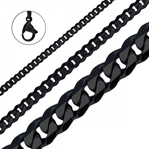 Halskette Herren Edelstahlkette Panzerkette Königskette Armband,Größe:3 mm;Farbe:Schwarz;Auswahl:Kette 70 cm