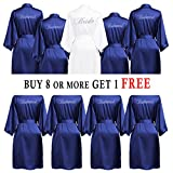 PROGULOVER Set Of Bridesmaid Robes Buy 8 Get 1 Free Rhinestone With Crystals Bridesmaid Gift Personalized Bridesmaid Satin Bride Robes Shower