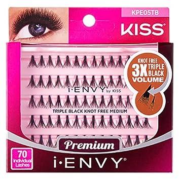 77d680935d1 Amazon.com : i Envy by Kiss 70 Individual False Eyelashes KPE05TB Triple  Black Knot Free Medium (2 Pack) : Beauty