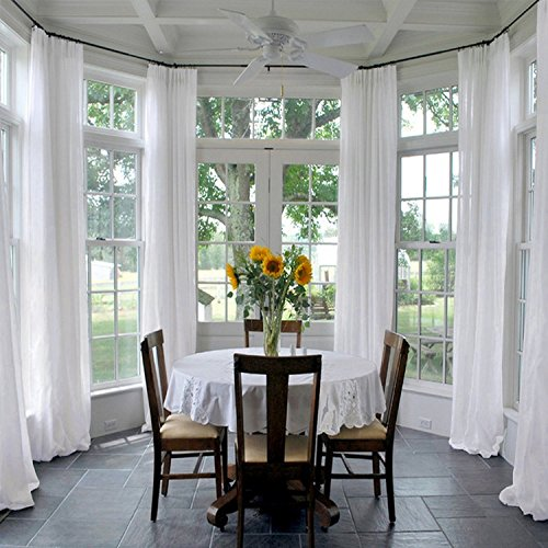 ChadMade Indoor Outdoor Solid Sheer Curtain Pinch Pleat White 150