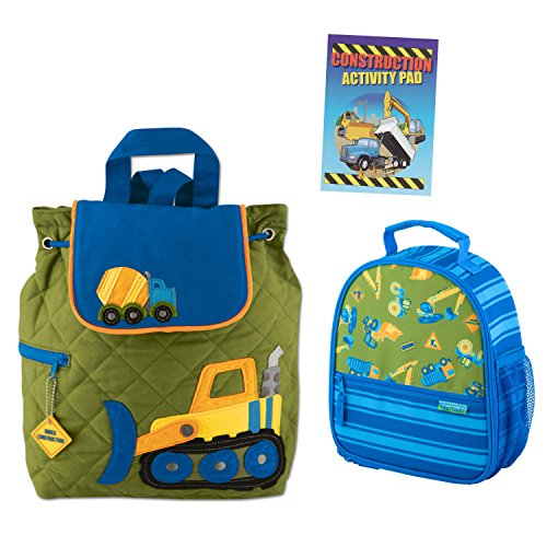 Stephen Joseph Boys Quilted Construction Backpack and Lunch Box with Activity Pad