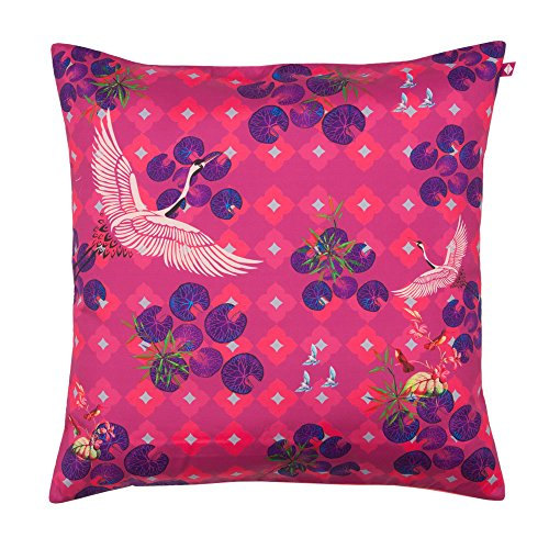 Indian Circus Red Paradise Poly Taf Silk Cushion Cover – 16 inch x16 inch , Multicolour