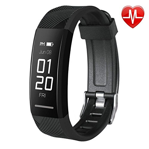 instecho Fitness Tracker, Custom Activity Tracker with Heart Rate Monitor, Multiple Sport Modes Smart Watch Men, Women and Children Waterproof Bluetooth Pedometer (Black)