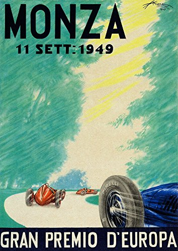 1949 Italian Grand Prix In Monza This rare original advertising poster for the 1949 Italian Grand Prix depicts 3 race cars driving through the trees of the Monza circuit and - Poster Advertising Original