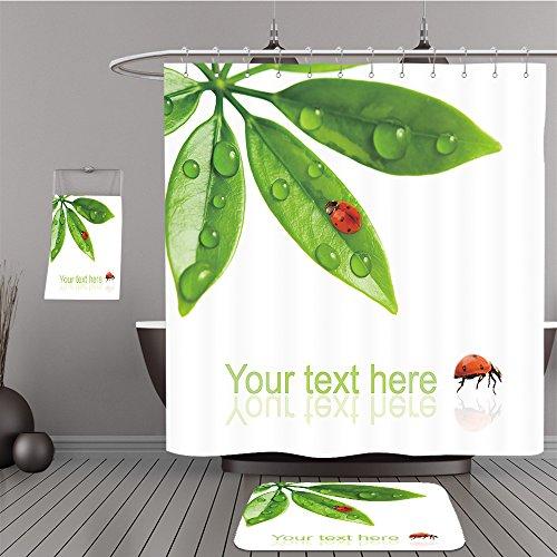 Missoni Home Garden (Uhoo Bathroom Suits & Shower Curtains Floor Mats And Bath Towels 26096296 Ladybug sitting on a fresh green leaf For Bathroom)
