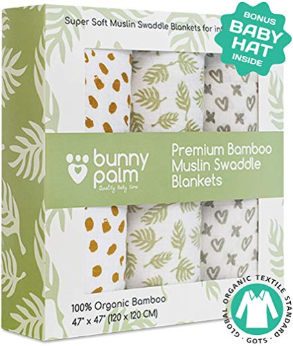 Muslin Swaddle Blankets, Unisex Organic Bamboo for Baby Set of 3 Swaddles for Boys and Girls, Soft Swaddling Receiving Sleep Blankets, Unisex Infant Toddler Gender Neutral Gift Baby Hat ()