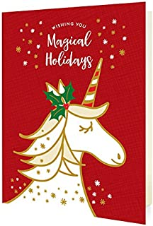 product image for Night Owl Paper Goods Magical Unicorn Red Folded Holiday Cards, 10 Pack