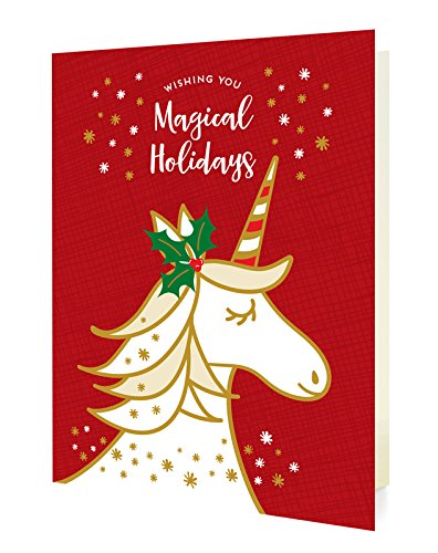 Amazon Com Night Owl Paper Goods Magical Unicorn Red Folded Holiday