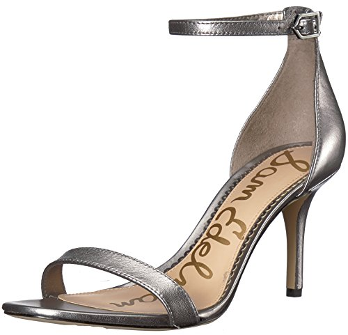 (Sam Edelman Women's Patti Heeled Sandal Pewter Metallic Leather 9.5 M US)