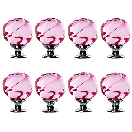 IFOLAINA Pack of 8 Crystal Glass Cabinet Knob Cupboard Drawer Pull Handle Pink Rose Crystal Handles Pink (Crystal Glass Drawer Knobs)