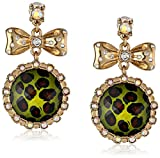 """Betsey Johnson""""A Day at the Zoo"""" Leopard Round Drop Earrings"""