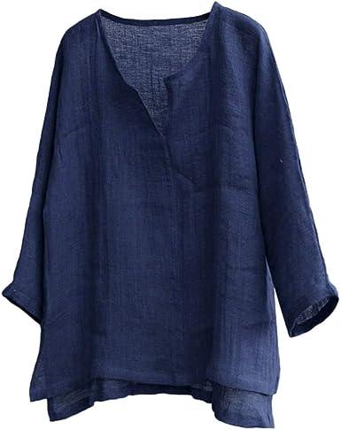 Camisetas para Hombre Verano Manga Larga de algodón Casual T-Shirt ...
