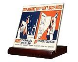 Wartime Duty Don't Waste Water (Kerkam) Ceramic Tile & Stand 4''x4''