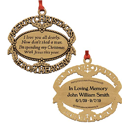 Merry Christmas From Heaven Personalized Gold Ornament with Poem Card in Gift Box (Poem M&m Christmas)