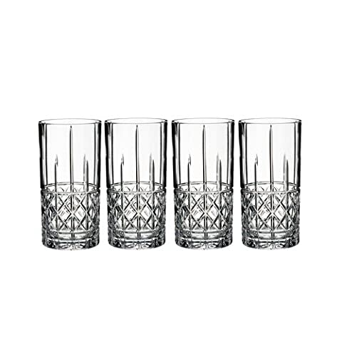 Marquis by Waterford 40018562 Brady HiBall Glass (Set of 4), 15 oz, Clear - Designers Waterford Crystal