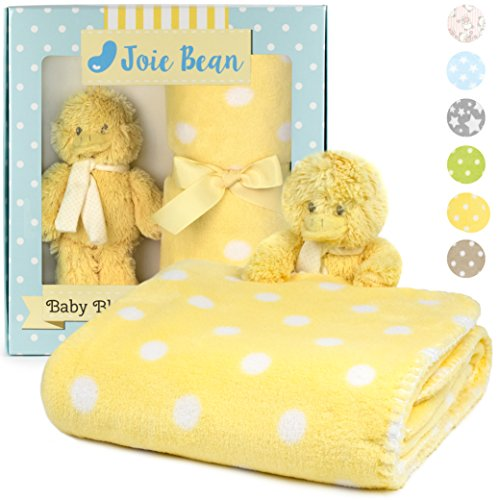 (Premium Baby Blanket Set with Stuffed Animal Plush Toy | Soft Fleece Security Throw Blanket for Baby, Newborn, and Toddler | Nursery Bedding and Baby Shower Gift (Yellow - Duck))