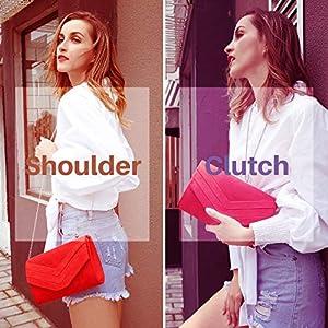 Milisente Evening Bag for Women, Suede Envelope Evening Purses Crossbody Shoulder Clutch Bag