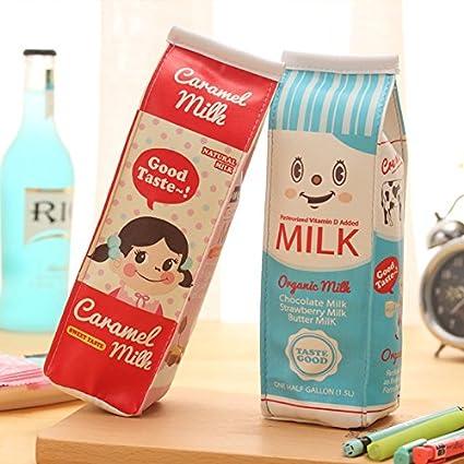 1 estuche creativo con forma de botella de leche para estudiantes, dibujos animados, monedero, estuche de almacenamiento, color rosso 20CM*5CM*6CM: Amazon.es: Oficina y papelería