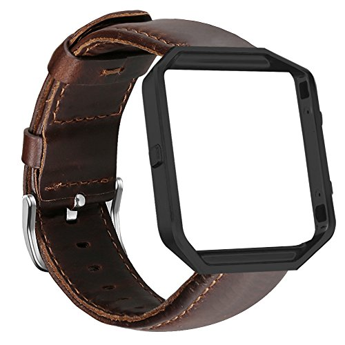 UMAXGET for Fitbit Blaze Bands, Genuine Leather Replacement Band with Black Metal Frame Dark Brown Large