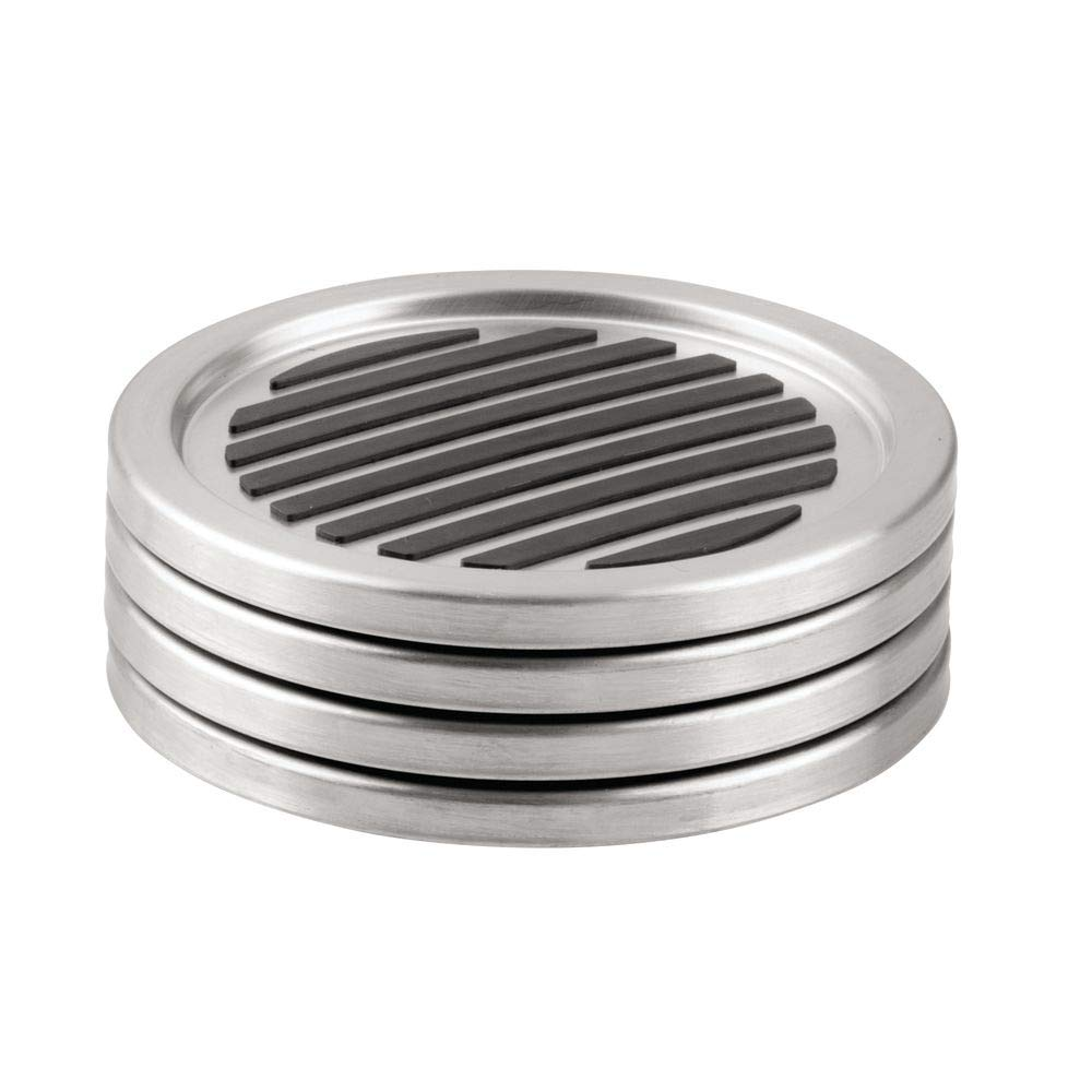 InterDesign Forma Drink Coasters - Set of 4, Brushed Stainless Steel/Black by InterDesign (Image #1)