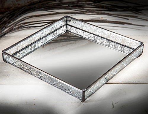 J Devlin TRA 115 Square Vanity Tray Organizer Mirror with Clear Glass 8 x 8 x 1 1/4 Jewelry Display for Dresser