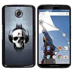 TopCaseStore / la caja del caucho duro de la cubierta de protección de la piel - Skull Play Music - Motorola NEXUS 6 / X / Moto X Pro