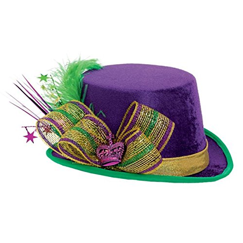 Amscan   Deluxe Mardi Gras Top Hat Party Supplies, Multi -
