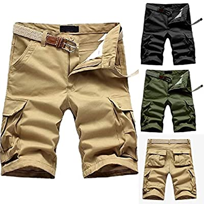 Men Cargo Pants Shorts Multi-Pocket Mid Waist Casual Pocket Beach Work Casual Slacks Trousers Fashion Sport Loose Active Overalls