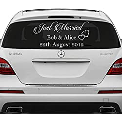(12'' x 6'') Just Married Custom Personalized Vinyl Decal / Write Your Names & Date Sticker / Wedding Day Car Back Window Mirror + Free Random Decal Gift