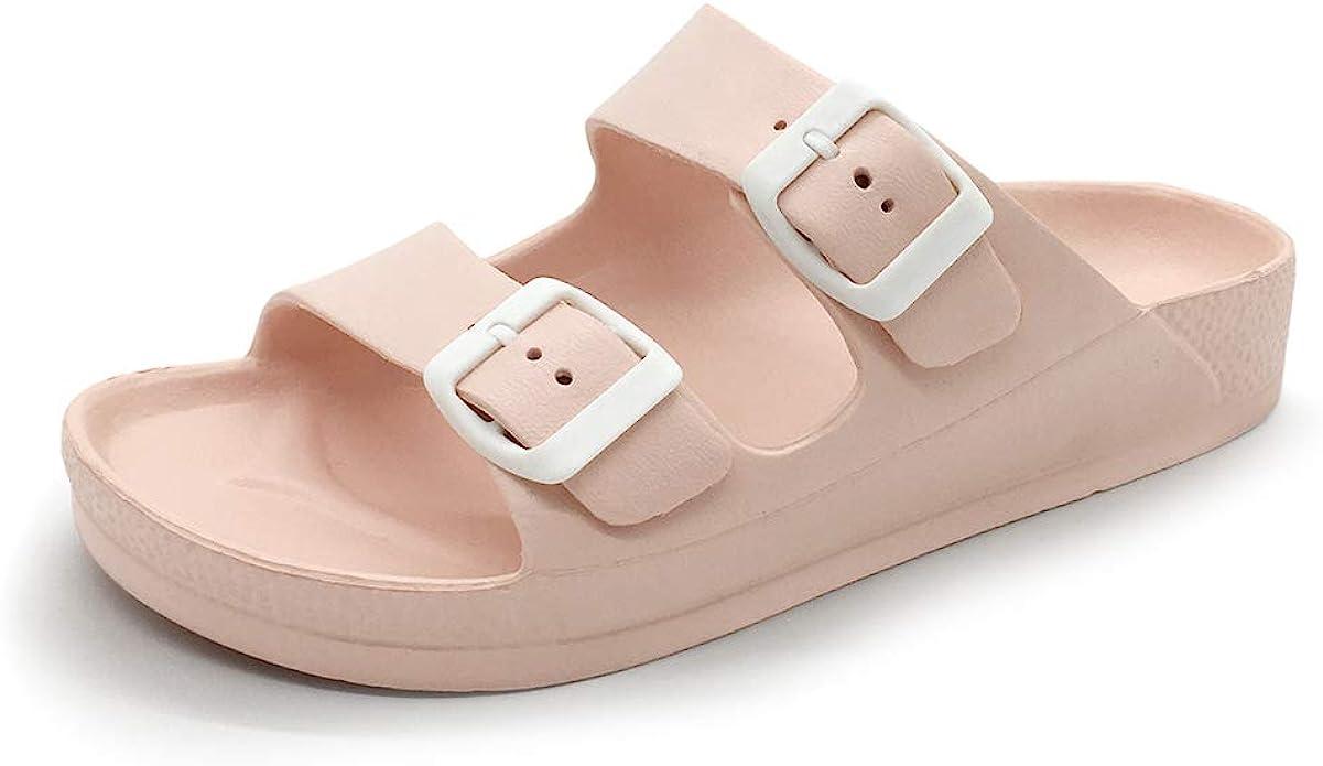 FUNKYMONKEY Women's Comfort Slides Double Buckle Adjustable EVA Flat Sandals   Amazon
