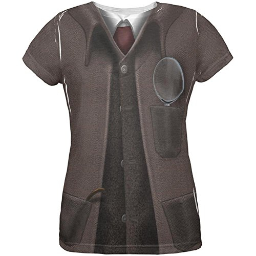 [Halloween Sherlock Holmes Costume All Over Womens T Shirt Multi 2XL] (Lady Sherlock Holmes Costume)