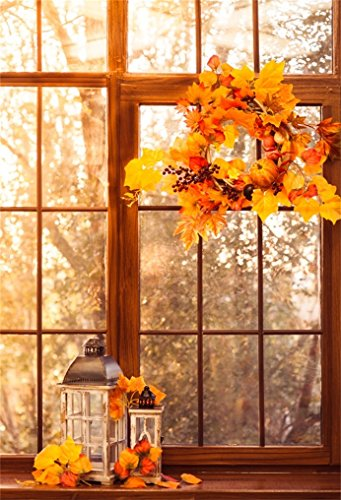 AOFOTO 5x7ft Autumn Wreath Hanging On Window Background Fall Yellow Leaves Old Lantern Photography Backdrop Interior Scene Adult Kid Artistic Portrait Photoshoot Studio Props Video Drape - Leaves Fall Photo