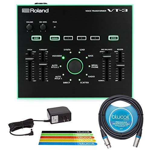 Roland AIRA VT-3 Voice Transformer Vocal Effects Processor for Live Stage and Studio WITH Power Supply, Blucoil 10 Foot XLR Cable AND 5-Pack Cable Ties
