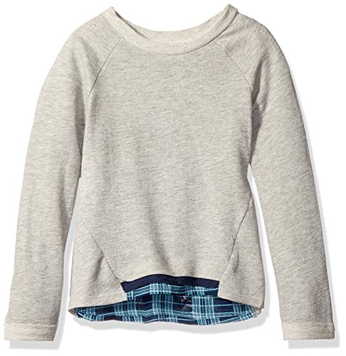 kensie-big-girls-french-terry-and-plaid-chiffon-sweatshirt-heather-grey-10-12