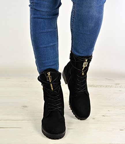 New Womens Desert Hiking Ankle Boots Ladies Lace Up Studs Shoes Size Uk 3-8 Black 3WFoJg