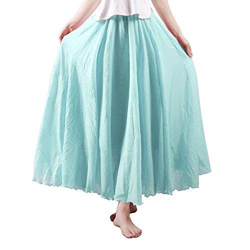 OCHENTA Women's Bohemian Elastic Waist Cotton Floor Length Skirt, Flowing Maxi Big Hem Water Blue 95CM