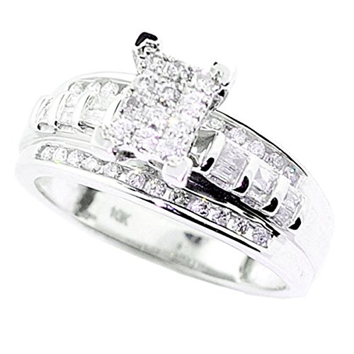 10K White Gold Wedding Ring 3 in 1 Style 1/2cttw Diamond