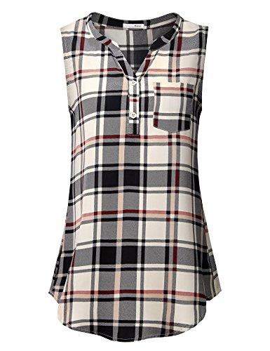 Messic Women's Casual Tunic Tank Tops Chiffon V Neck Sleeveless Blouse Tops - Chiffon V-neck Tunic Top