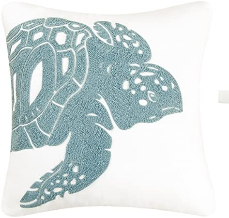 C F Home Sea Turtle Rice Stitch Pillow 18 x 18 White
