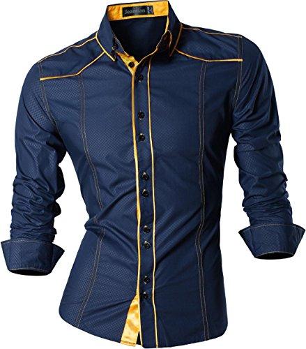 jeansian 8397 - Camisa de Manga Larga para Hombre, Ajustada, Estilo Casual, Z034_Navy, X-Large