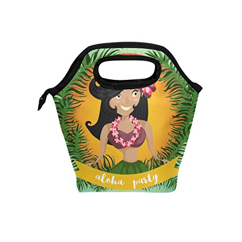 LORVIES Hawaiian Aloha Hula Dancing Girl Lunch Tote Bag Insulated Thermal Cooler Lunch Bag Waterproof Neoprene Lunch Handbags Tote with Zipper for Outdoor Travel Picnic -